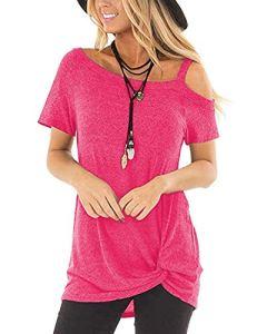 Abravo Femmes T Shirt Manches Courts Casual Cotton Sweatshirt Chemise en Vrac Hauts Tops (XL, Z-Rose)