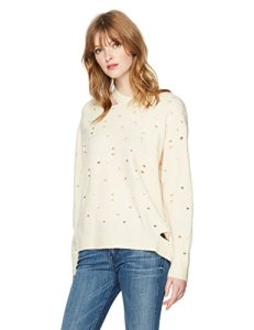 ASTR the label Women's Distressed Pullover Sweater, Ivory, S