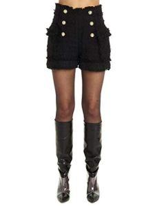 Balmain SF15012C1370PA Short en Coton pour Femme – Noir – 36