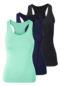 Débardeur Femme Tops de Sport Gilet Basique Unie Dos Nageur T-Shirt sans Manches Tank Yoga Fitness Elastic Vest Lot de 3 (Noir/Bleu foncé/Vert Jade) XX-Large