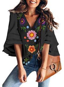 Dokotoo Femme Blouse Manches 3/4 Trompette Chemisier Tunique Chemise Imprimé Floral Top Mode Haut Col V Casual Lâche T-Shirt en Mousseline S-XXL