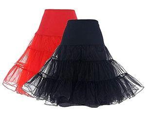Dresstells Jupon années 50 Vintage en Tulle Rockabilly Petticoat Longueur 66cm/26,2 Jupons(Noir*1+Rouge*1) S
