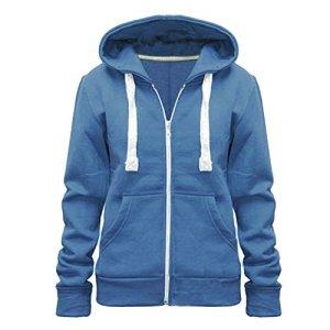 fabriqué par Malaïka pour Femme Uni à Capuche et Fermeture Éclair pour Femme à Capuche Fermeture Éclair sur Le Dessus, Tailles (UK 8-28) – Bleu – X-Large