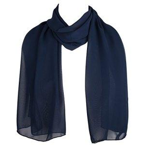 Hat To Socks Filles Femmes écharpe en mousseline classique foulard châle (Bleu Marine)