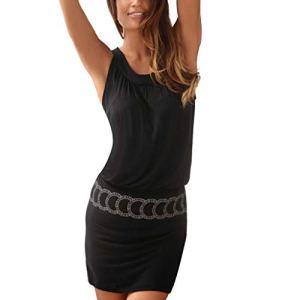 HCFKJ Robe Ete Femme, Mode Casual Womens sans Manches Imprimé O-Neck Beach Bodycon Mini Tank Robe(Black, L)