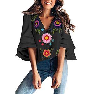 Honestyi Femmes d'été T-Shirt Mode Casual Blouse Plage Haut Col en V Floral Impression Tops Facile à Assortir Hauts Vintage Élégant Tee Shirt Manches 3/4 Chemise 2019 Nouveau (S, Noir)