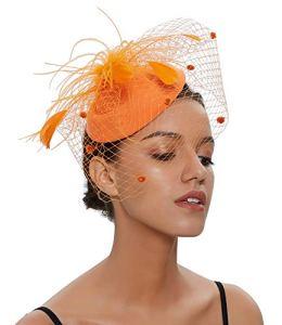 ilishop Femmes élégantes Fascinator, chapeau nuptiale plumes cheveux clip accessoires cocktail Tea Party Hat Orange