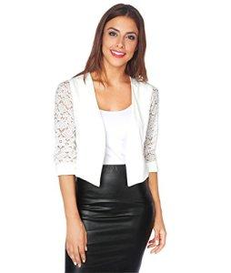 KRISP 5159-WHT-LXL, Boléro Femme Manche Dentelle Chic Soirée Grandes Tailles Mariage, Blanc (5159), L/XL