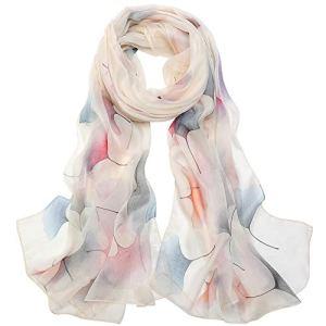 LD Foulard Femme Écharpe Soie Grande Chale Légère Etole Elégante Mode Meilleur Cadeau XXL 180 x 110cm (Grande taille-Ginkgo blanc)