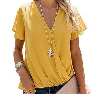 ❤️LILICAT Femmes Dames Manches Courtes Dentelle Patchwork Blouse Tops Vêtements T-Shirt O-Cou Mode Dentelle Imprimer Élégant Vintage Dentelle Couture T-Shirt à Manches Courtes …
