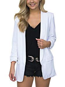 Minetom Femme Élégant Blazer à Manches Longues Slim Fit OL Bureau Affaires Veste de Costume Chic Manteau Cardigan Blouson Veste (Blanc, FR 48)