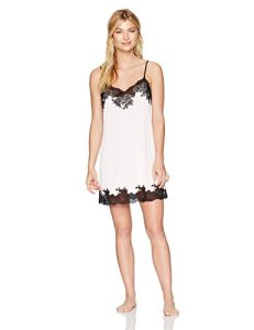 Natori Women's Enchant Solid Slinky Chemise with Lace, Blush Pink with Black, Extra Small
