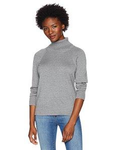 Pendleton Women's Petite Merino Ribneck Turtleneck Sweater, Soft Grey Heather, Small