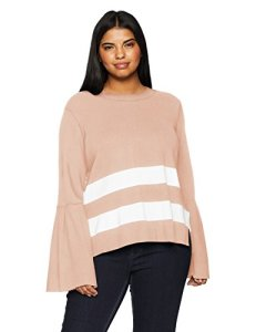 RACHEL Rachel Roy Women's Plus Size Oversized Striped Sweater Pullover, Blush Eggshell Combo, 3X
