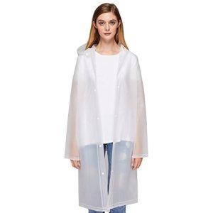 UniqueBella Imperméable transparent et réutilisable Poncho d'urgence avec capuche et manches Unisexe Adulte M White M