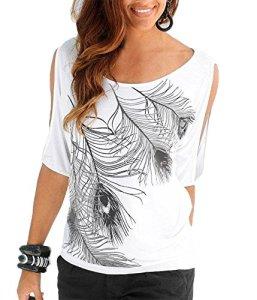 Uniquestyle Femme Col Rond Épaules Manches Courtes Tee Shirt Top Haut Imprimé Plume Taille Loose Blanc XXL