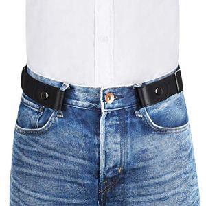 VBIGER Ceinture Homme Femme Elastique sans Boucle Ceinture Unisexe extensible invisible pour Jeans Pantalons Largueur 3.5cm Noir