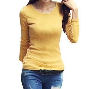 VWTTV Chemisiers Femmes Col Rond Couleur Unie Basique Lâché Décontractée Manches Longues Pull Shirt (Jaune,S)