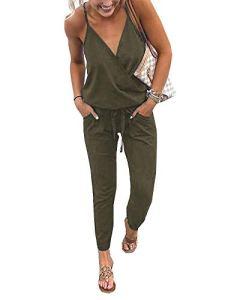 Walant Mode Femmes Combinaison Dos Nu sans Manches Col V Imprimé Floral Camisole Barboteuse Jumpsuit D'été Chic Élégant Slim Pantalon Loose Casual, Vert Armée, S