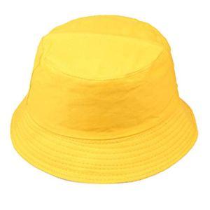 XLGX Bob Chapeau de Soleil Chapeau de Pêche Fisherman Bonnet Couleur Unie Anti-UV Solaire Toile Unisexe Loisirs Voyager (Jaune)