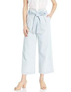 ASTR the label Women's Hayden High Waist Paperbag Light Wash Cropped Wide Jeans