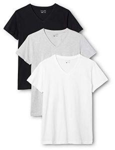Berydale T-shirt pour femmes à encolure en V, lot de 3, différrentes couleurs dans différentes couleurs, Noir/Blanc/Gris, 2XL