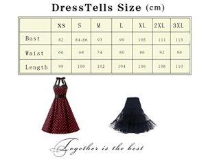 Dresstells, Version3.0 Vintage 1950's Audrey Hepburn pin-up Robe de soirée Cocktail, Style Halter années 50 à Pois, Bleu Clair S