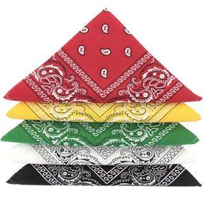 KARL LOVEN Lot de bandanas 100% Coton paisley foulard fichu bandana 25 couleurs au choix – Lot 5/10/20 (Lot de 5 Différents, Camaïeu Vert Jaune Rouge)