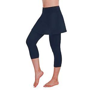 Legging de compression, Casual Jupe de Tennis Sport Taille Élastique Skinny Pantalon Danse Fitness Golf, Basique Jambières Capri pour Femme Filles