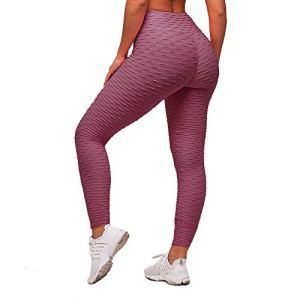 Memoryee Leggings de Compression Anti-Cellulite Slim Fit Butt Lift Elastique Pantalon de yoga taille haute avec poches sport pour femmes (Pâte de haricots, L)