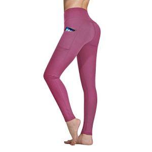 Occffy Legging de Sport Femme Pantalon de Yoga avec Poches Yoga Fitness Gym Pilates Taille Haute Gaine DS166 (Bégonia Rose, XL)