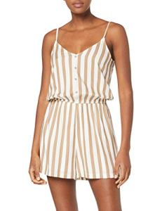 Only Onlearth SL Playsuit WVN Combishort, Multicolore (Cloud Dancer Stripes: W Silver Mink), 38 (Taille Fabricant: 36) Femme