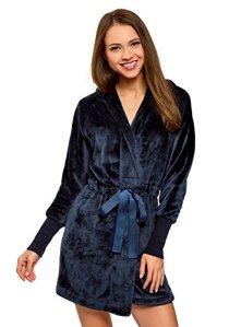 oodji Ultra Femme Robe de Chambre à Capuche et Lien Coulissant, Bleu, FR 36 / XS