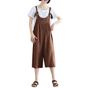 Saihui_Women Jumpsuits Salopette Ample Ample en Coton et Lin avec Sangles réglables pour Femme Grande Taille – Marron – XXL