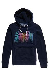 Superdry V Logo Cascade Entry Hood Sweat-Shirt À Capuche, Bleu (Eclipse Navy 98t), X-Small (Taille Fabricant: 8) Femme