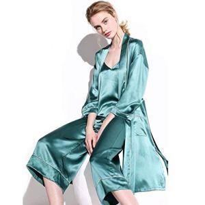 TTZ Femmes Vêtements De Nuit 2 Pièces Satin Vêtements De Nuit en Soie De Robe De Kimono Robe avec Sangles Robe De Nuit pour Dames Loungewear (Size : Large)