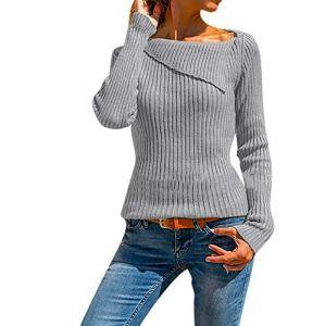 VJGOAL Sweatshirt Femme Hiver Automne Manches Longues Chaud Irrégulière Couleur Unie Mince Pull Femme Pas Cher A La Mode Sweatshirt Noir Haut Femme Sexy Chic T-Shirt Femme Pas Cher Sweatshirt Sport