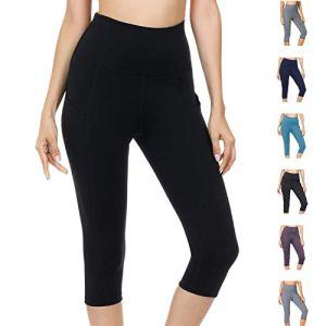 WateLves Legging pour Femme Pantalon de Yoga Gym 3/4 Taille Haute Capri Course à Pied Court Pantalon avec Poches(Noir, L)