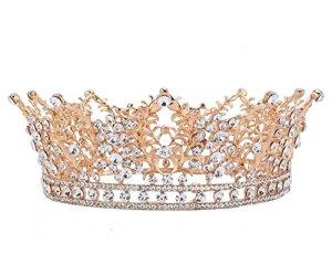 Wiipu rond concours de beauté de mariage Couronne Accessoires Cheveux Strass Couronne (A1232)