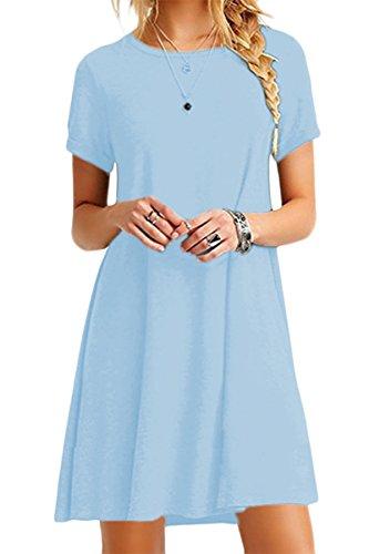 YMING Femme Tunique Courtes Manches Robe en Vrac Col Rond Chemise Loose Mini Robe,Bleu Clair,L/FR 40