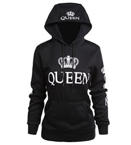 ZKOO Couple Sweat-Shirt à Capuche Queen Impression Hooded Sweatshirt Pull Hoodie Femme Homme