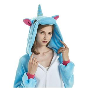 Animal Cosplay Costume Adulte Licorne Onesie Pyjamas Avant Fermeture Éclair Cosplay Vêtements De Nuit Halloween Costume (Bleue Licorne, M/Hauteur 158-167cm)