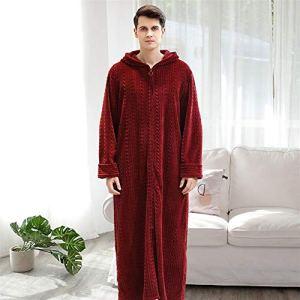 Chemise de Nuit Automne et Hiver Zipper Peignoir à Capuche Flanelle Loose Peignoir Couple Epais Pyjamas Nuisette, Flanelle, Redb, Taille L