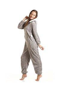 Combinaison-pyjama pour femme en polaire avec capuche – Gris – 38/40 EU