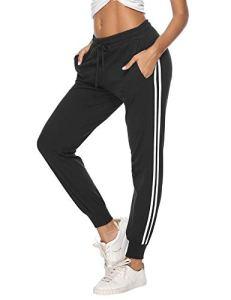 Hawiton Pantalon de Sport Femme 100% Coton Stripe Pantalon décontracté Pantalon de Jogging Pantalon d'entraînement Fitness Taille Haute Long Coton, A- Noir, S