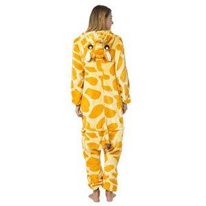 Katara 1744 – Grenouillère Combinaison pour Adultes Tenue de Nuit Pyjama Kigurumi Costume – Taille XL, 175-185cm Girafe