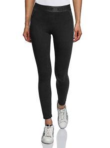oodji Ultra Femme Legging en Maille avec Taille Élastique, Noir, FR 42 / L