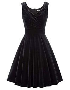 Robe à 'Audrey Hepburn' Classique Vintage 50's 60's Style en Col V Blanc XL CL108-1