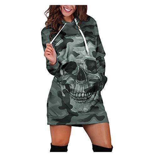 Robe Sweat à Capuche Femme Hooded Sport Sweatshirt Robe Manche Longue Automne et Hiver 2019 Pull Chaud Décontractée Crâne Imprimee Tête de Mort Halloween Mini Robe Robe de Sport Tops