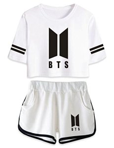 Saicowordist Femme BTS Bangtan Boys Tee Shirt+Short Ensemble Sport Short Deux Pièces Bloom Army Fans Suga Jin Jimin Jungkook Polyester M Blanc